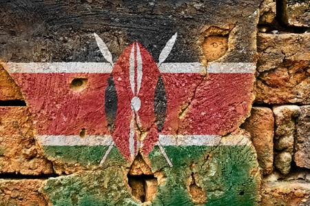 Grunge flag of Kenya on old wall background. Stock Photo - 17794824