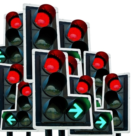 Traffic light (red and green) Isolated on white background Stock Photo