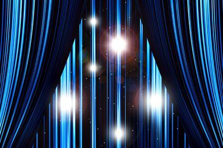 Blue stage curtain on spotlight background. Stock Photo