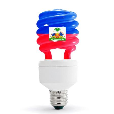 Flag of Haiti with energy saving lamp on white background.