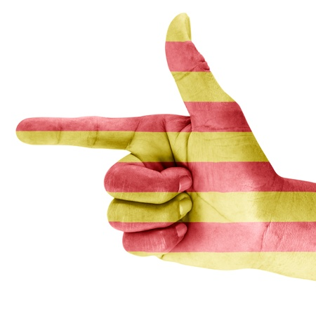 Flag of Catalonia drawn on hand with white background.