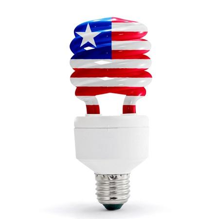 liberia: Flag of Liberia with energy saving lamp on white background.