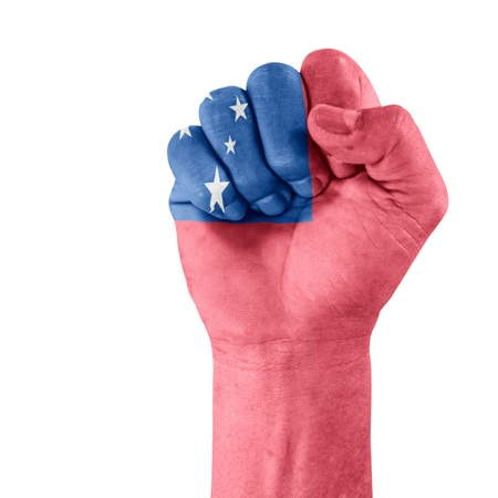 clenched fist: Flag Of Samoa on hand with clenched fist gesture over white background. Stock Photo