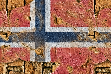 whitw: Grunge Flag of Norway on old wall background.