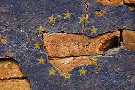 Grunge Flag of  European Union on old wall background.