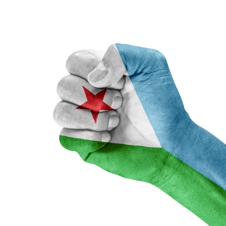 Flag of Djibouti on hand with clenched fist gesture over white background   Stock Photo