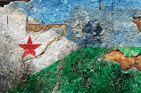 Grunge flag of Djibouti on old wall background