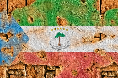 equatorial guinea: Grunge flag of Equatorial Guinea on old wall background