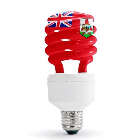 bermuda: Flag of Bermuda with energy saving lamp on white background  Stock Photo