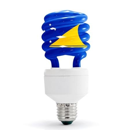 tokelau: Flag of the Tokelau with energy saving lamp on white background