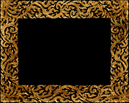 Golden picture frame traditional thai style on black background. photo
