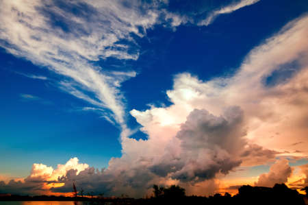 Landscape with a beautiful color sky and cloud.