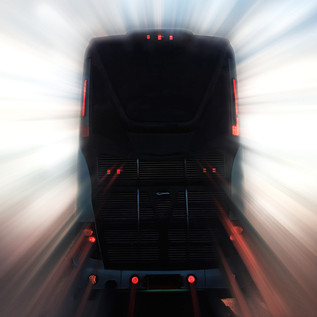 Motion blurred bus on the highway. Stock Photo
