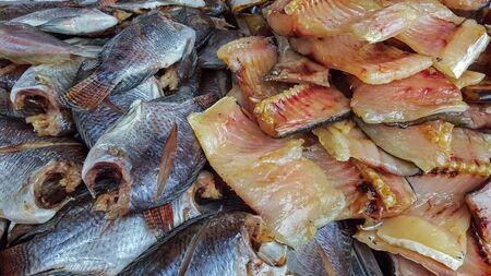 Closeup dried fish in market. Stock Photo
