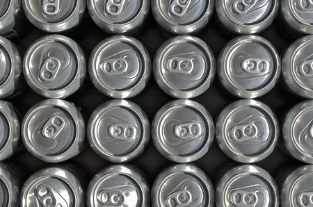 Groups of aluminum drinks cans.