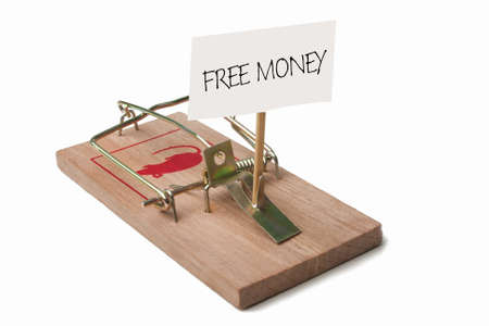 debt trap: Mousetrap with free money sign
