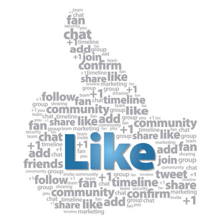 Thumb up - Like sign with social media words Stock Photo - 12092627
