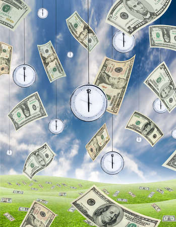 Conceptual shot about time and money with dollar banknotes falling from the sky and clocks hanging from the sky. Vertical. photo