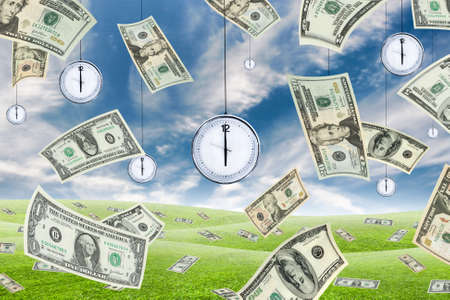 Conceptual shot about time and money with dollar banknotes falling from the sky and clocks hanging from the sky. photo