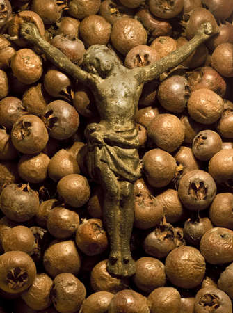 lutheran: Concept shot of a crucifix of Jesus lying on a bed of rotten medlar fruits. Stock Photo