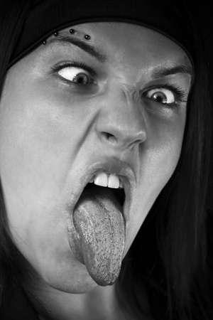 Girl making face