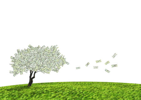 Concept of a cash tree of American dollar banknotes with leaves falling of detoning banking and savings.