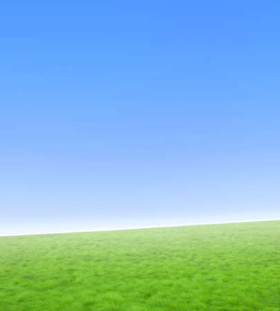Beautiful simple nature background with green grass and a gradient blue sky. Diagonal horizon. Stock Photo - 2290386