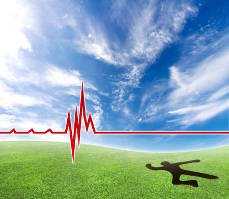 Concept of a lifeless person making a hole in the ground with a cardiograph line. photo