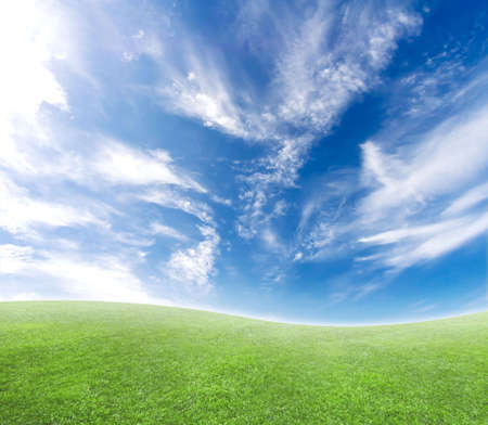 A simple tranquil beautiful S-curved horizon with blue sky and green grass.