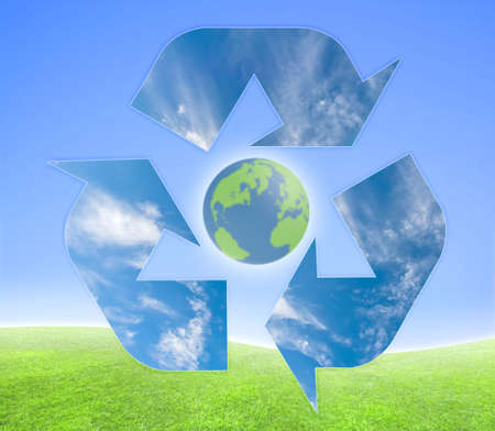 Concept for ecological purposes. Recycling symbol over a green and blue background. photo