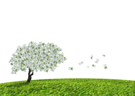 payroll: Concept of a cash tree with falling 100 Euro banknotes leaves.Composite shot. Stock Photo