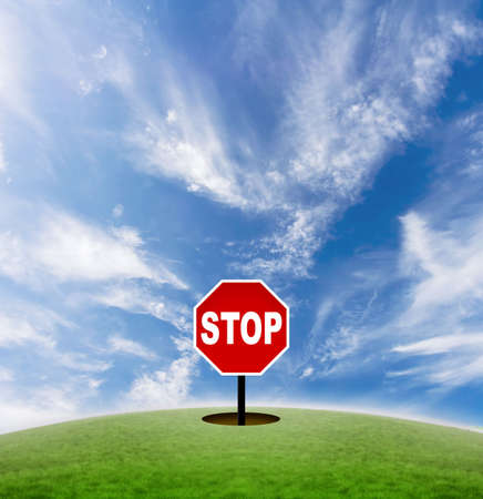 signifies: Concept of a stop sign in the middle of nowhere. Signifies the pace of modern life.