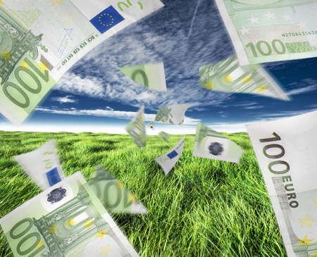 flujo de dinero: Concepto de euros de dinero o el flujo de caja, ya sea positiva o negativa.  Foto de archivo