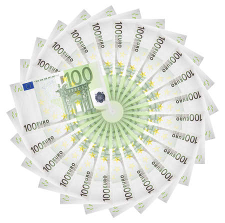 Euro banknotes spread out in a circle. Standard-Bild