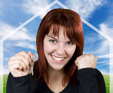 homebuyer: Studio shot of a cute girl with red hair holding keys with a blue sky and green pasture background with a house symbol.
