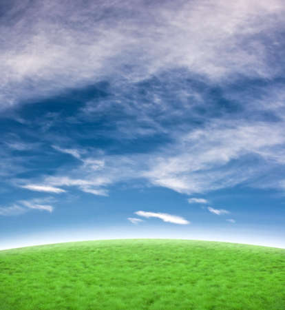 Background with a beautiful blue sky and green hill. Stock Photo - 2310301