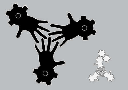 Logo conceptual illustration of fingers intertwined together within gears or cogs. Concept of teamwork and labor unity. illustration