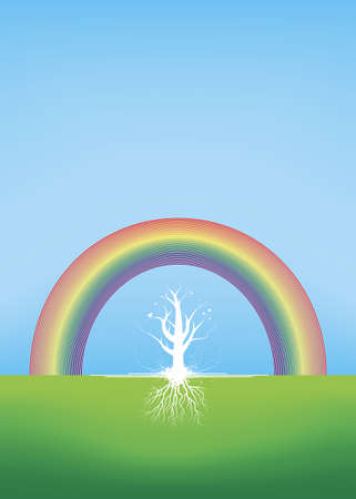 Illustration of a tree silhouette with summer or spring butterflies with roots made in a grunge and floral style with a rainbow over the sky. illustration