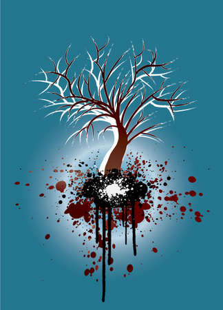 Grunge illustration of a tree silhouette with gradient colors on a winter or autumn theme. illustration