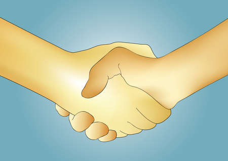 Illustration of two hands shaking. Handshake. Stock Illustration - 2376033