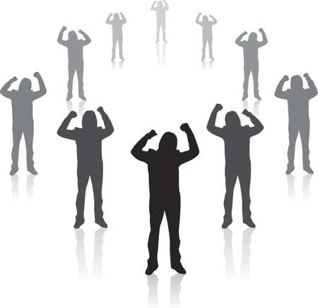 rejoice: Illustration of winning business teamwork. Team spread in a circle. Stock Photo