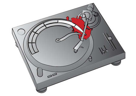 Illustration of a turntable vinyl player with a discotheque logo. illustration