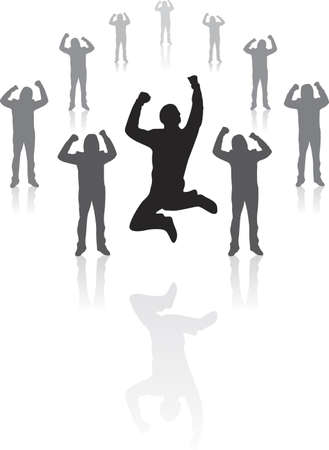 rejoicing: Illustration of a winning business team rejoicing spread in a circle
