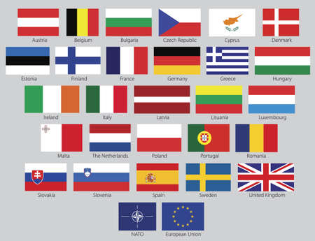 proportions: Flags of the 27 members of the European Union as of 2008 plus the symbol of NATO and the European Union in real official proportions, named. Clean vector illustrations.