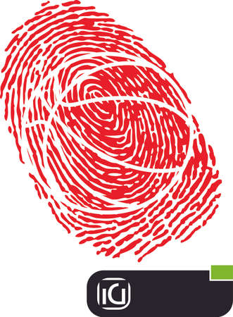 readymade: Illustration of a fingerprint with a basket ball shape in it and a ready-made logo for a company.