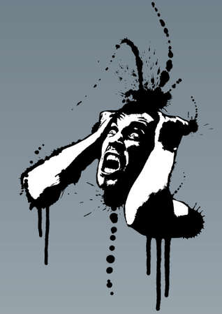 Detailed vector illustration of a screaming man pulling his hair out out of madness. Grunge style with ink splatters. Vector
