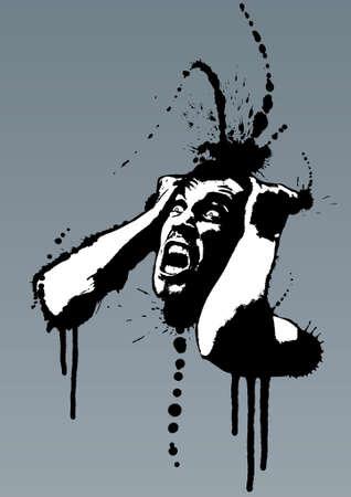 dientes sucios: Detallada ilustraci�n vectorial de un hombre gritando tirando de su pelo fuera de la locura. Estilo grunge con tinta splatters.