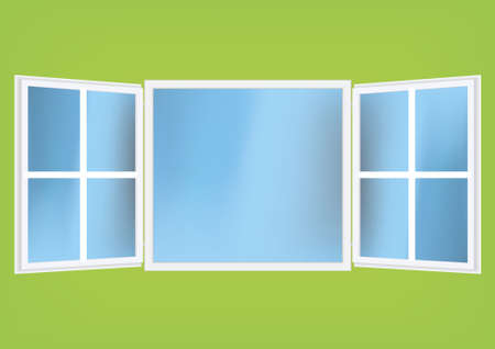 Vector illustration of an open window with reflection on glass. Easy to remove window meshes and use it as a design element. Vector