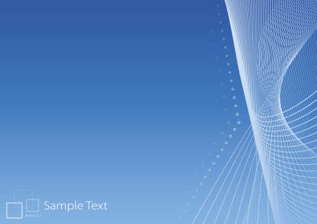 vector message: Vector illustration of lined art on a blank gradient blue background with template logo or ad message in the corner. Clean.
