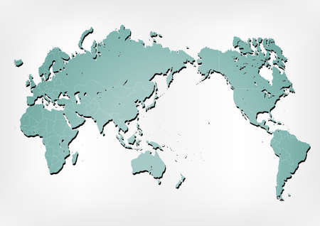 Stroked world map illustration with nation borders on a gradient background with a simple shadow. Illustration